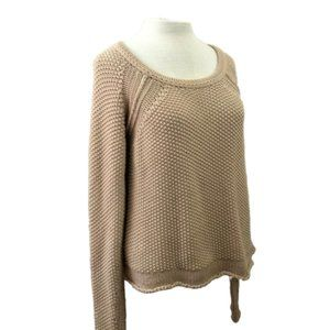 Bebe Small tan beige Crew Neck Knit Sweater Size